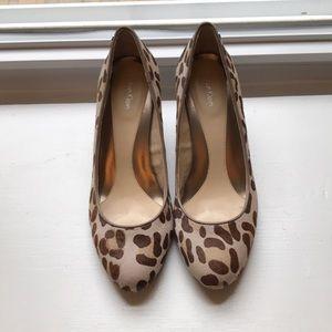 Calvin Klein leopard wedge pumps